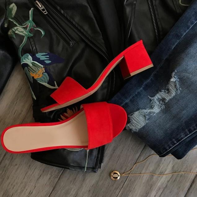 Червени чехли с квадратен ток лято 2018