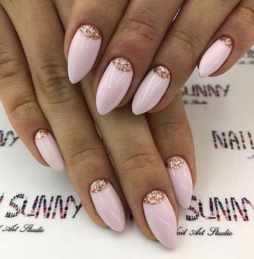Маникюр за остри нокти в розово лято 2018