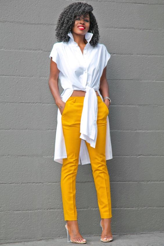 Стилен панталон в жълто лято 2018
