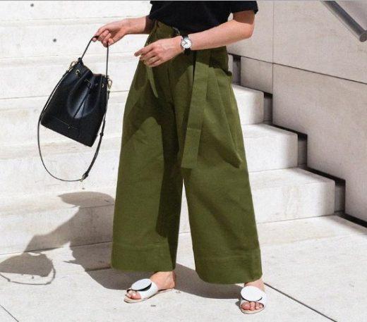 Равни чехли в комбинация с широк панталон лято 2018