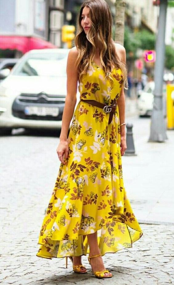 Дълга жълта рокля с принт лято 2018