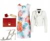 Нежна флорална рокля в комбинация с бяло яке лято 2018