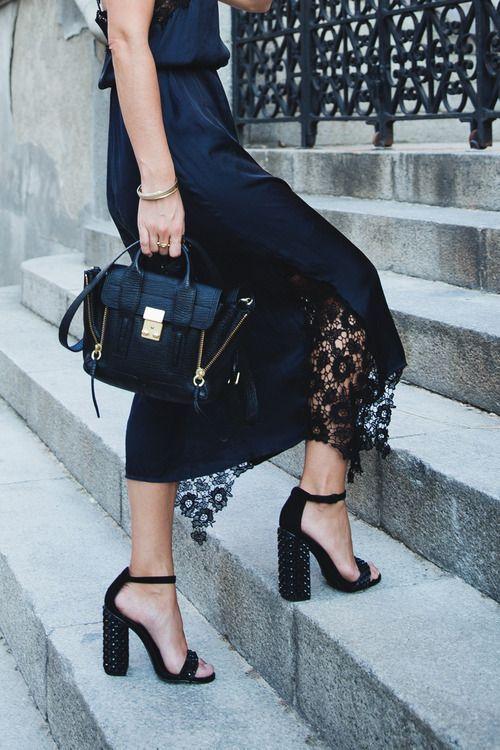 елегантна черна пола с дантела
