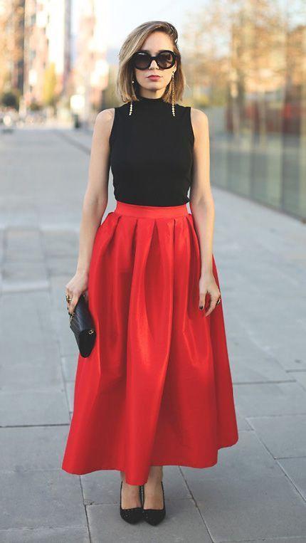 огнено червена пола