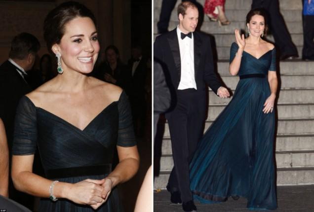 Херцогиня Катрин във вечерна рокля