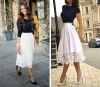 бяла широка пола с висока талия