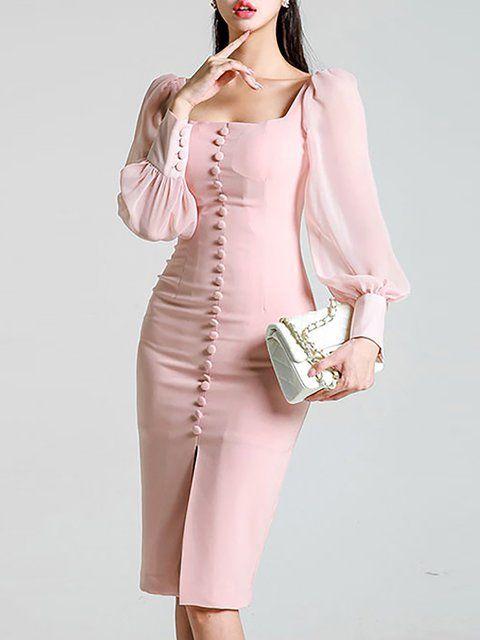 Нежно розова рокля с копчета