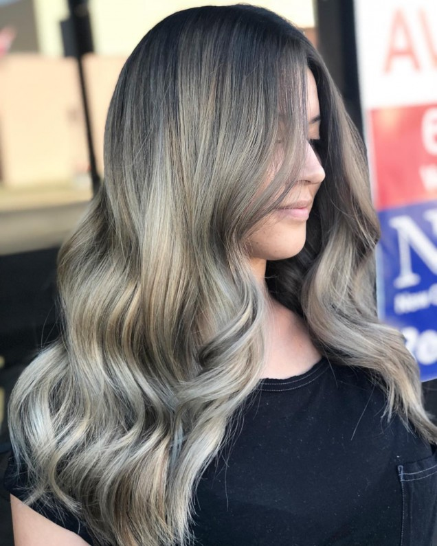 омбре на кестенява коса
