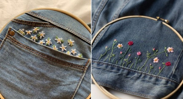 цветя на дънки