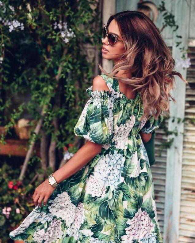 зелена свежа рокля