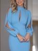 нежно синя рокля с цепка на ръкава