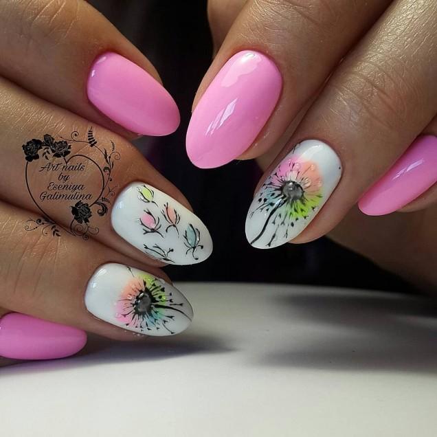 Идеи за пролетен маникюр 2019 Пролетен маникюр с цветя Пролетен маникюр за къси нокти Красив пролетен маникюр