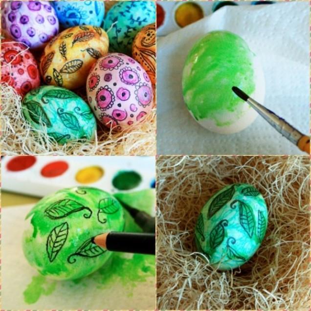 Боядисване на яйца с парафин и молив