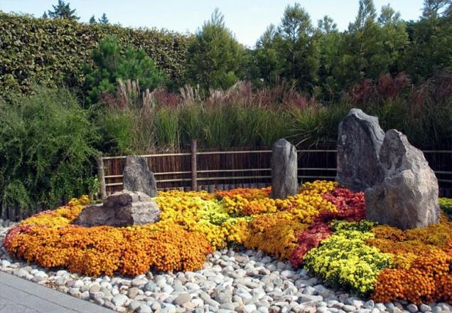 каменна градина с цветя