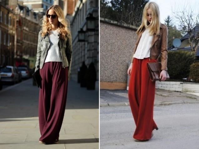 червен широк панталон