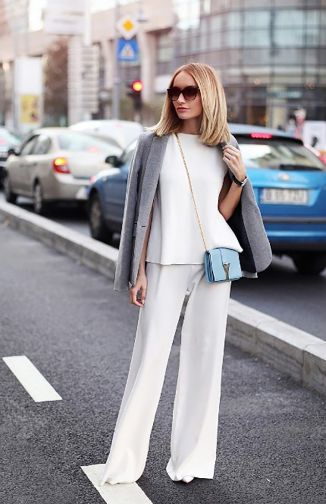 бял широк панталон