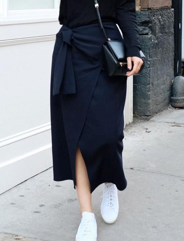 свободна черна пола с колан