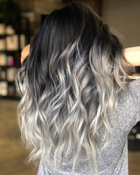 дълга коса сребрист балеаж