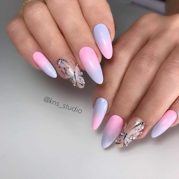 розово- лилаво омбре