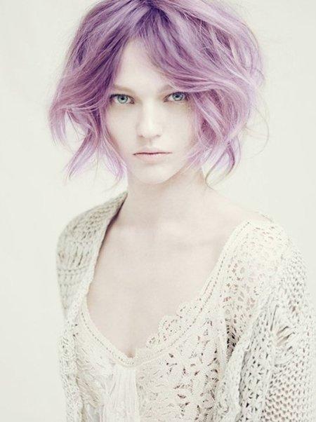 пастелно лилава коса