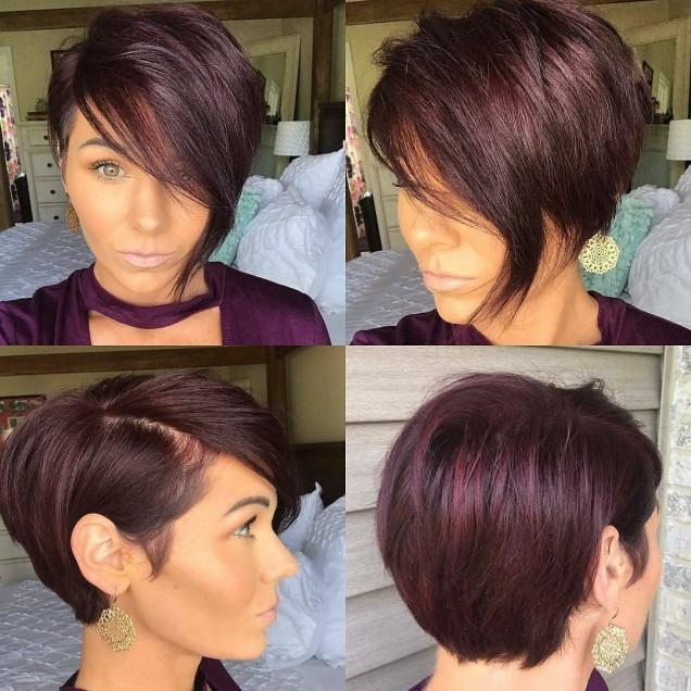 къса коса в цвят патладжан