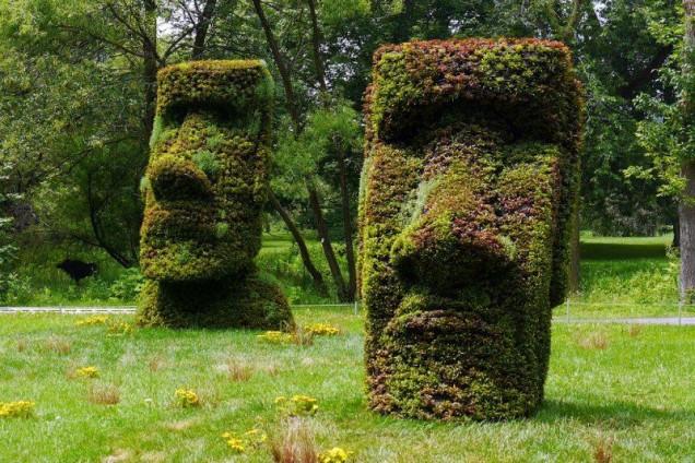великански глави от храсти