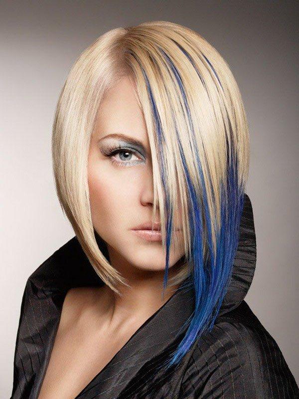 руса коса със син акцент