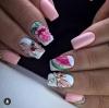 розов маникюр с дини