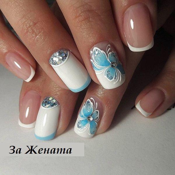 бял маникюр със синьо
