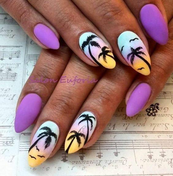 лилав с палми