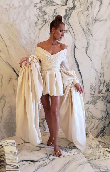 Селин Дион кремава рокля