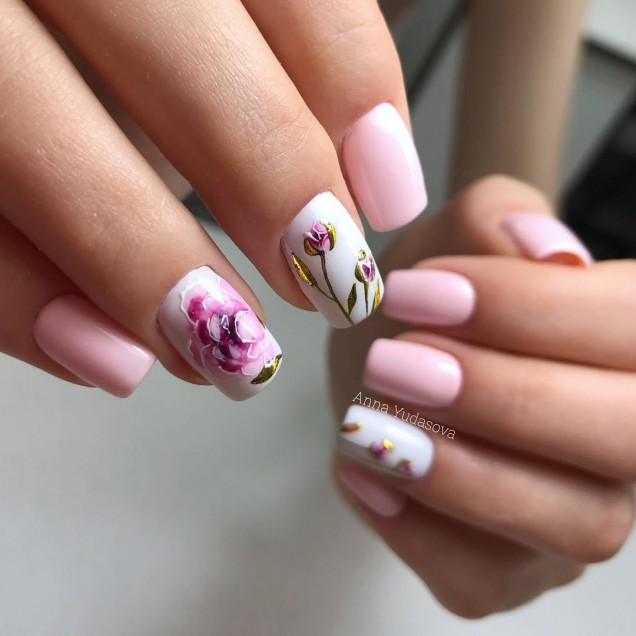 розов маникюр с рисунки