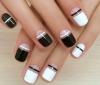 черно-бял маникюр къси нокти