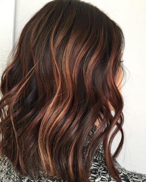 кичури розово злато на тъмна коса