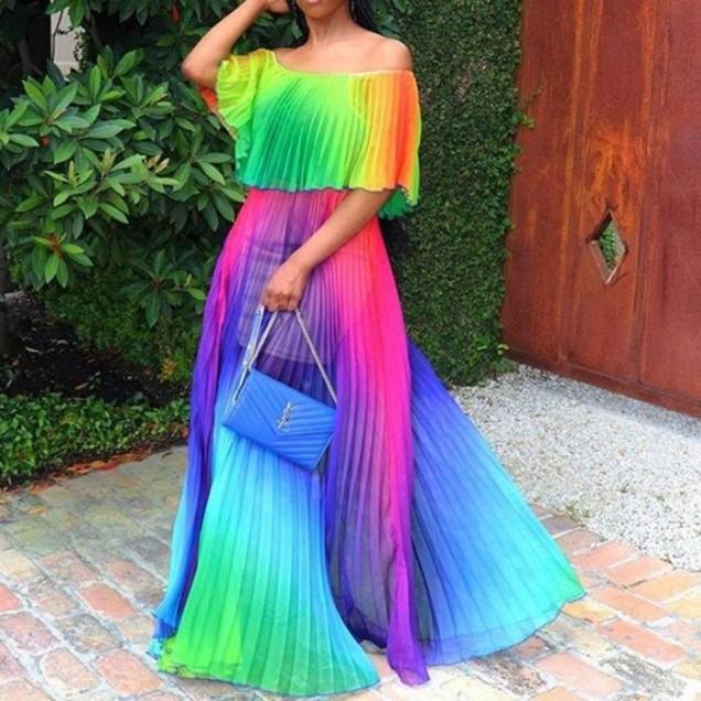 шарена рокля дълга
