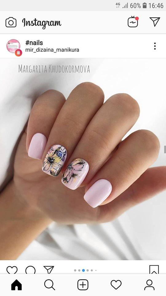 розов къс маникюр