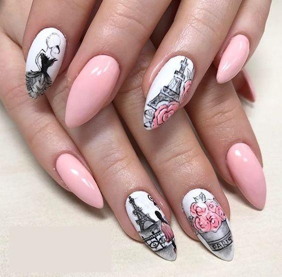 маникюр в розово с рисунки