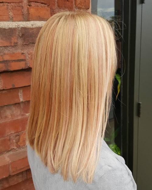 кичури розово злато на руса коса