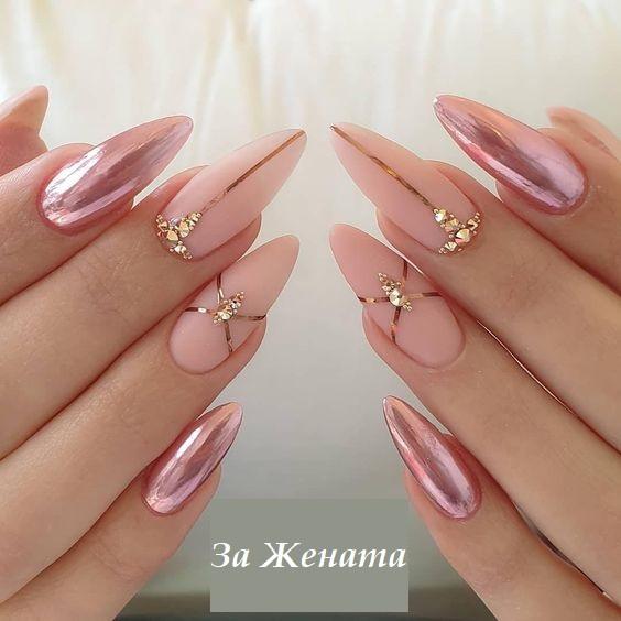 розов маникюр на дълги нокти