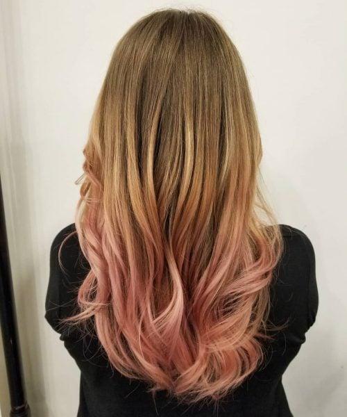 омбре на руса коса с розово