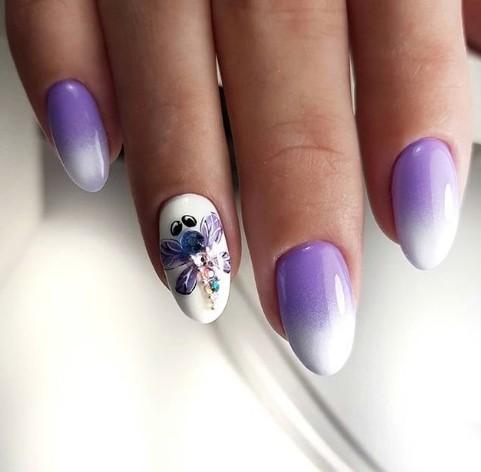 омбре с лилаво и бяло