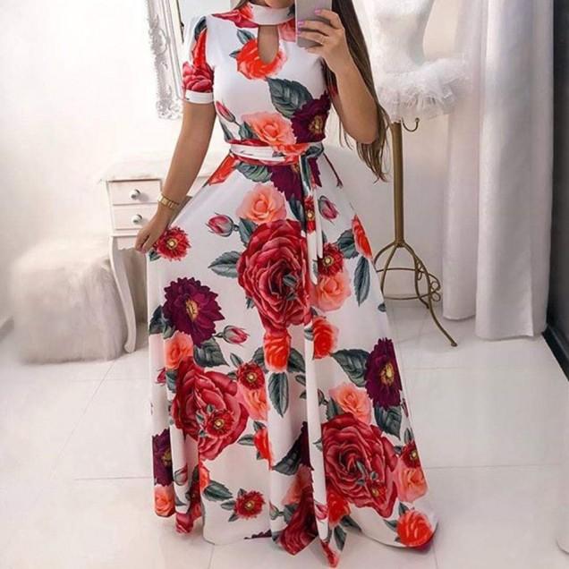 флорална дълга рокля.