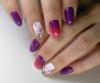 лилаво-розово омбре с рисунки