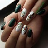 есенен маникюр зелено и листа