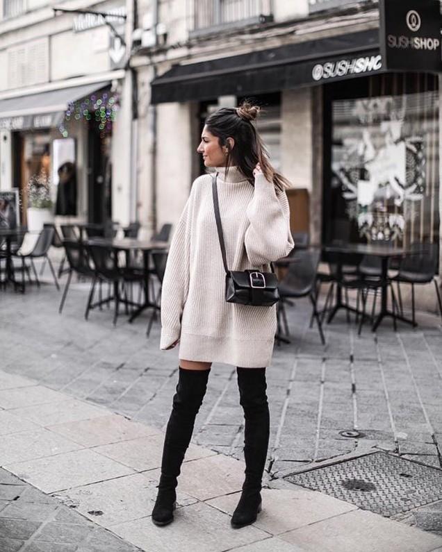 широка плетена рокля-пуловер