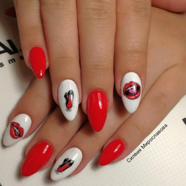 бяло и червено маникюр