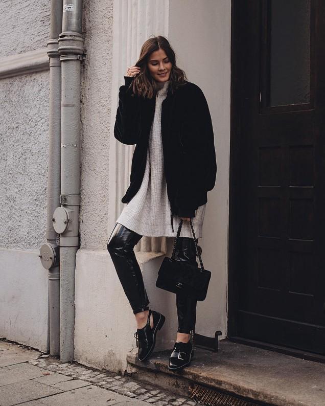 плетена мини рокля с палто