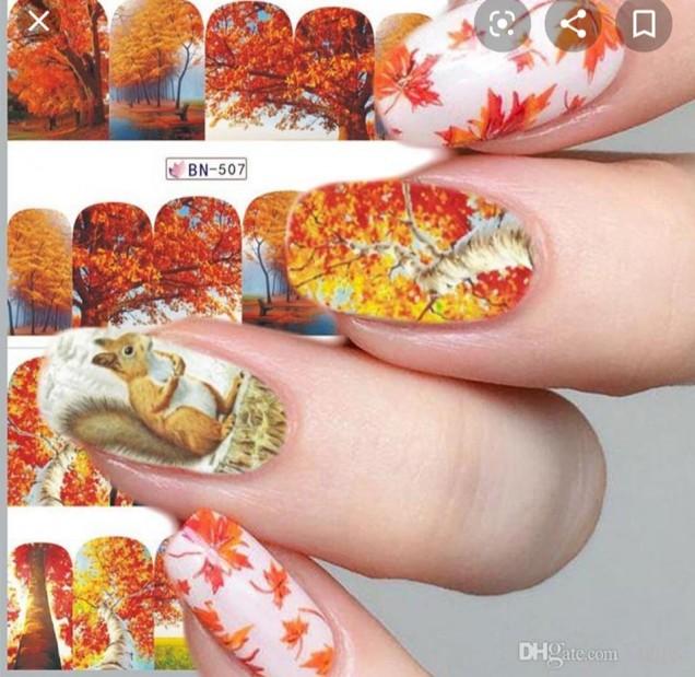 маникюр с есенни пейзажи