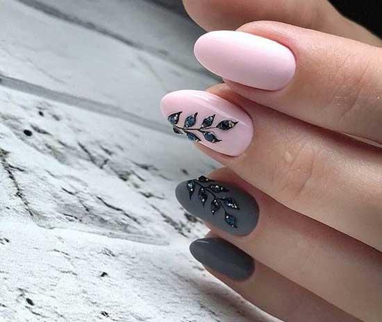 маникюр сиво розово с листа