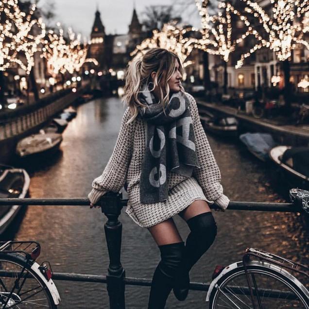 плетена рокля тип пуловер